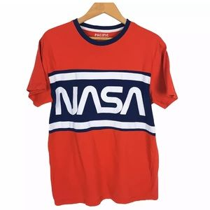NASA Large Spell Out Mens Size M T Shirt Red Blue